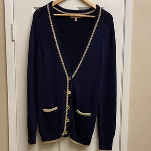 Juicy Couture navy and gold cardigan